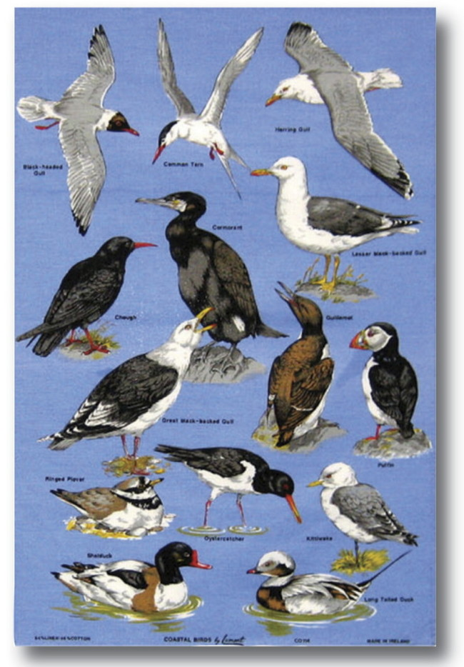 Coastal Birds Linen Tea Towel