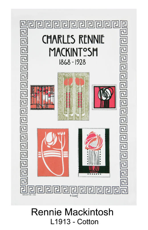 Charles Rennie Mackintosh 1868 - 1928 Cotton Tea Towel