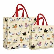 Chickens PVC Medium & Mini Gusset Bags by McCaw Allan