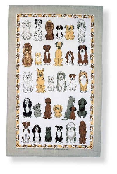 Dogs Arrived Linen Tea Towel