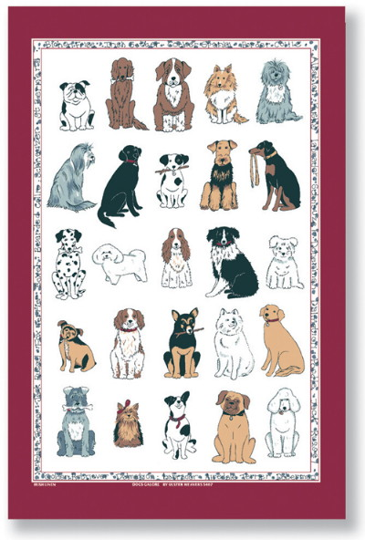 Dogs Galore Linen Tea Towel
