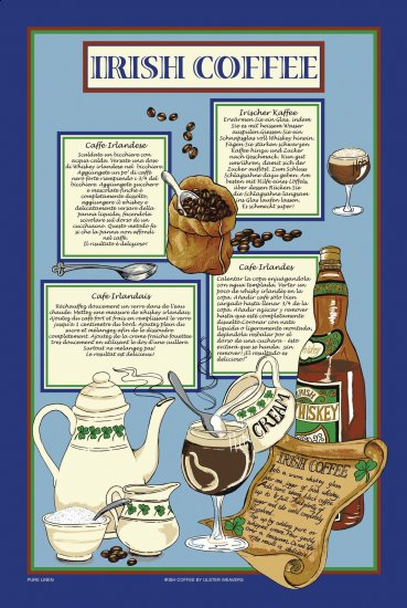 Irish Coffee Linen Tea Towel