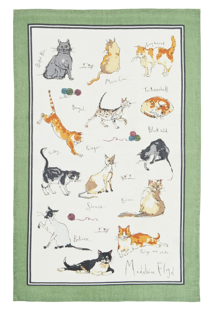 MF Cats Linen Tea Towel