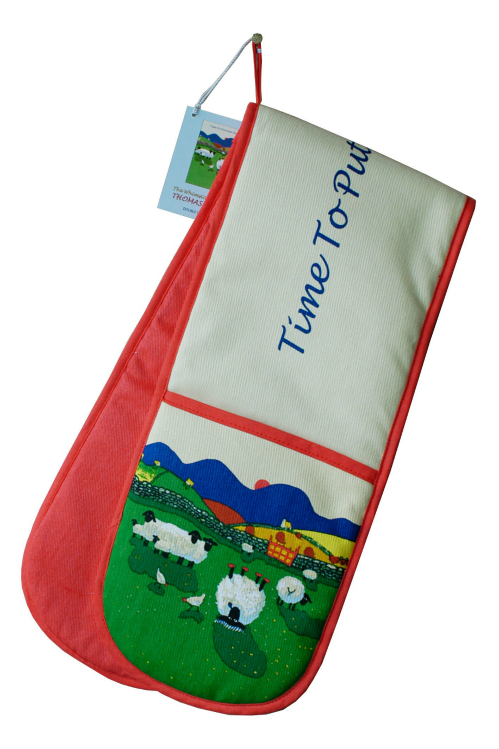 Thomas Joseph Double Oven Glove - Time To Put Ewer Feet Up
