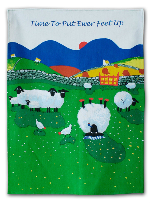 Thomas Joseph Cotton Tea Towel - Time To Put Ewer Feet Up