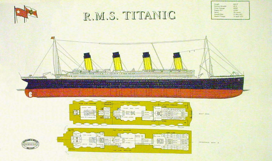 R.M.S. Titanic Linen Union Tea Towel