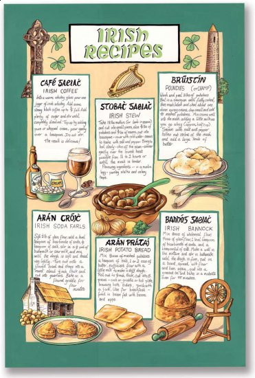 Traditional Irish Recipes Linen Tea Towel