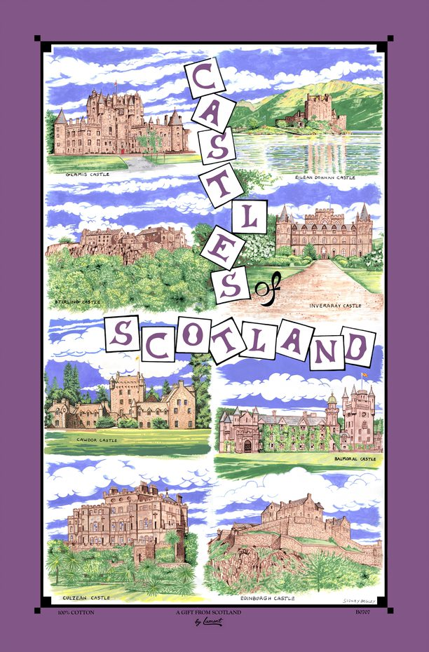 Castles of Scotland Cotton Tea Towel