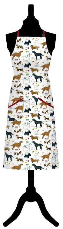 Dog Breeds Cotton Apron with Pockets