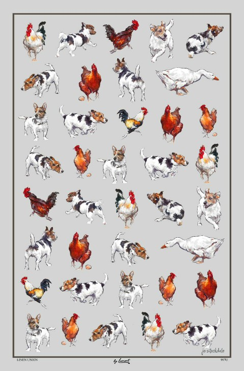 Farmyard Frolics Linen Union Tea Towel