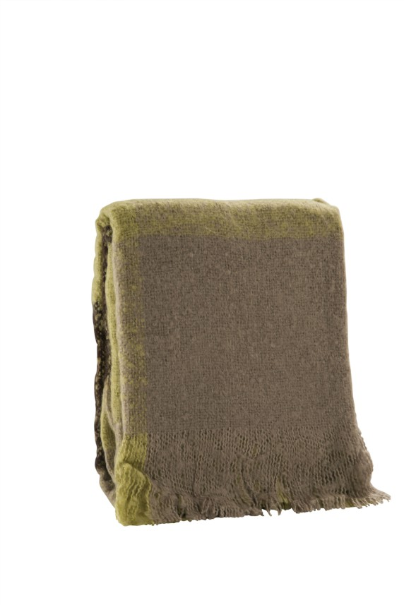 Faux Mohair Green Check Acrylic Throw 500g