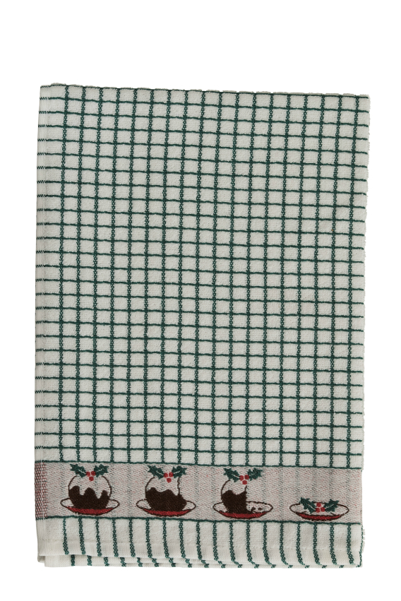 Poli-Dri Jacquard Tea Towel - Christmas Puddings