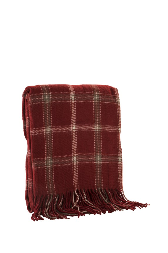 Red Check Acrylic Throw 380g